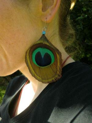 Boucle d`oreilles plume de paon